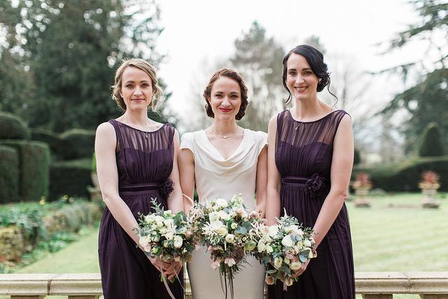 winter wedding bride and bridesmaids