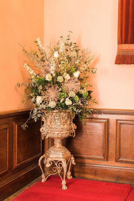 winter urn arrangement