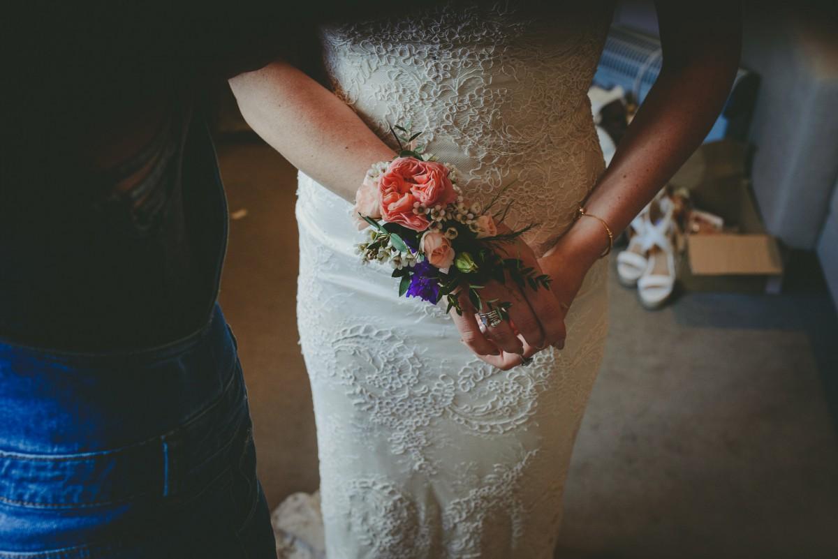 wrist corsage for boho bride