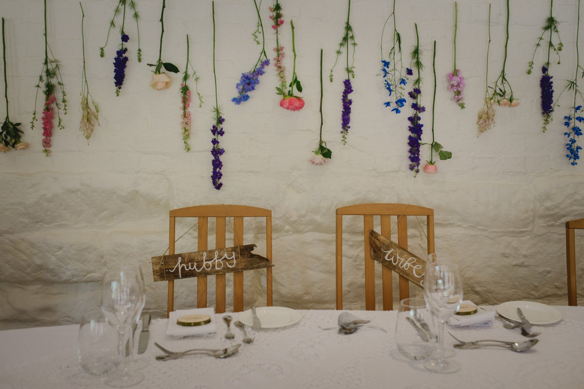 top table hanging flowers