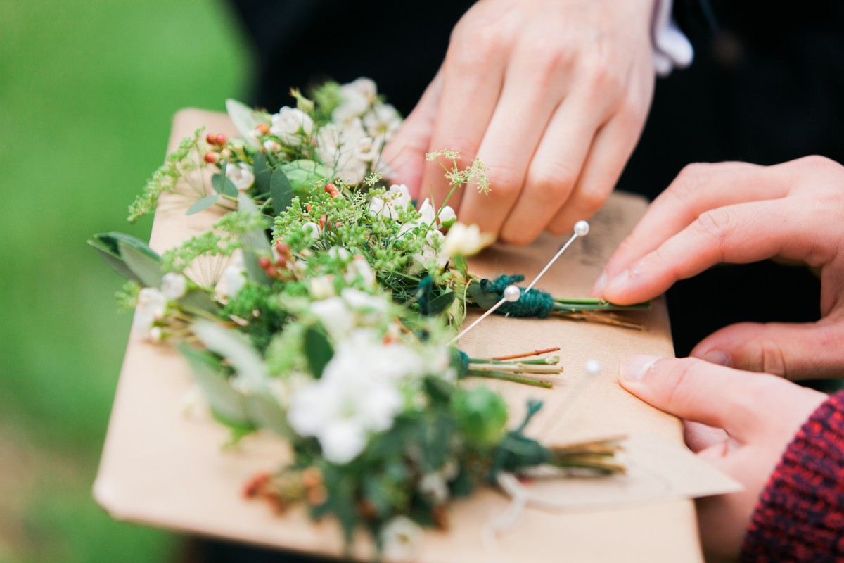 grooms buttonhole for a festival wedding