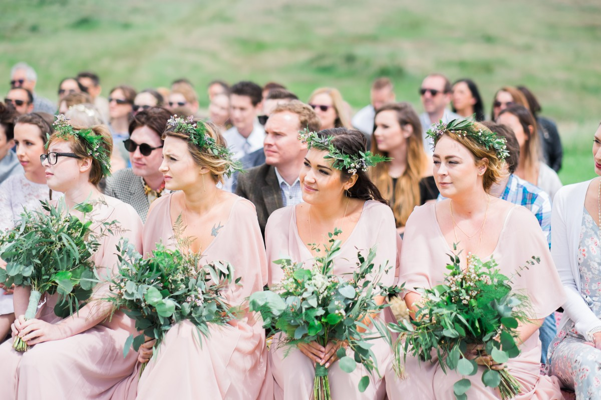 foliage bouquets and crowns for a festival wedding