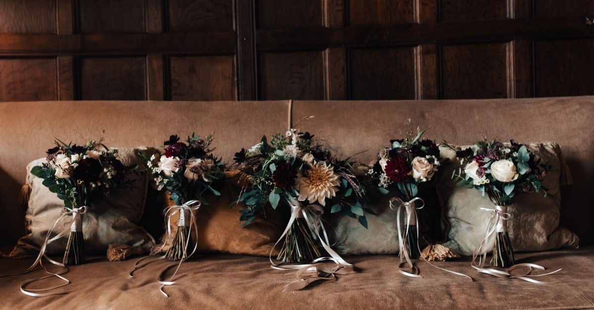 autumn brides bouquet at Elmore Court