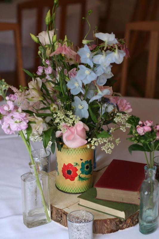vintage tea caddy flowers