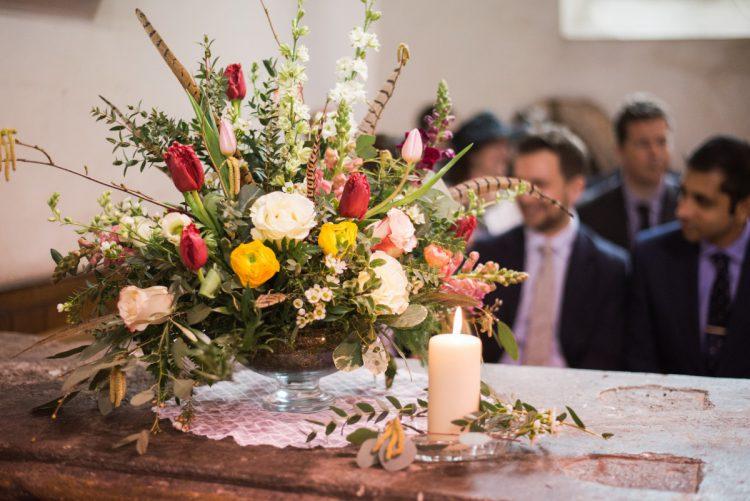 spring wedding church flowers