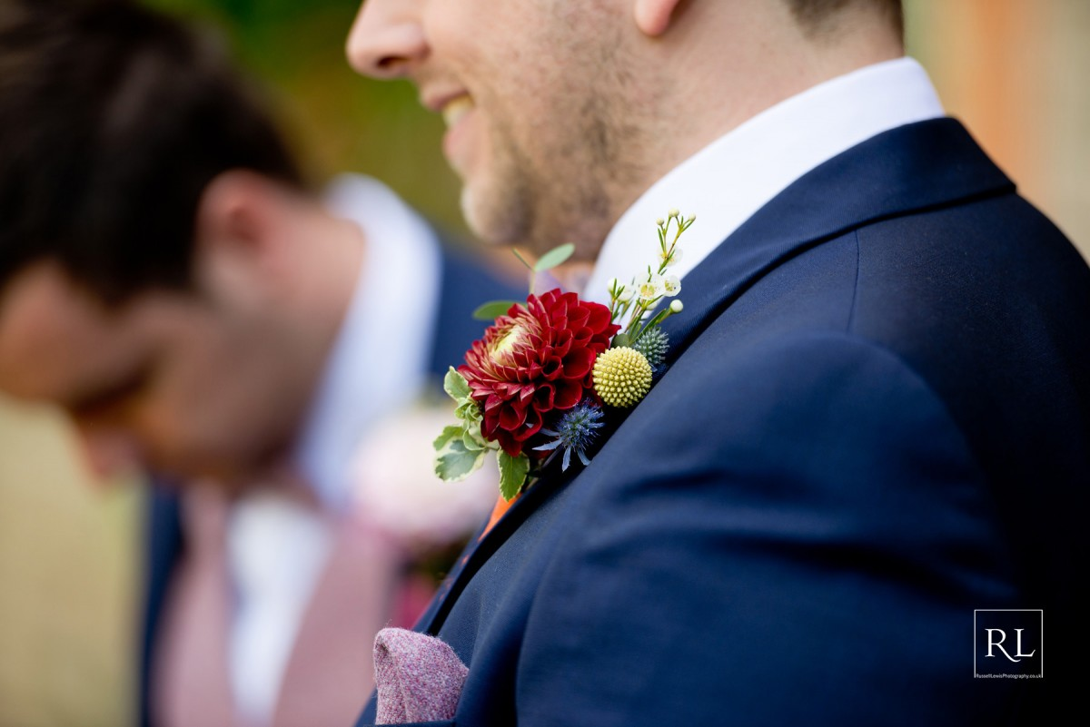 dahlia buttonholes for a colourful wedding at Homme House