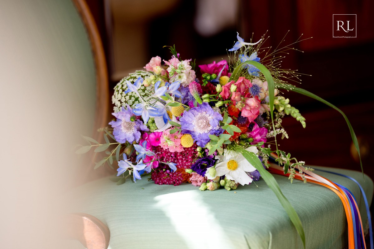 bright brides bouquet for a colourful summer wedding at Homme House