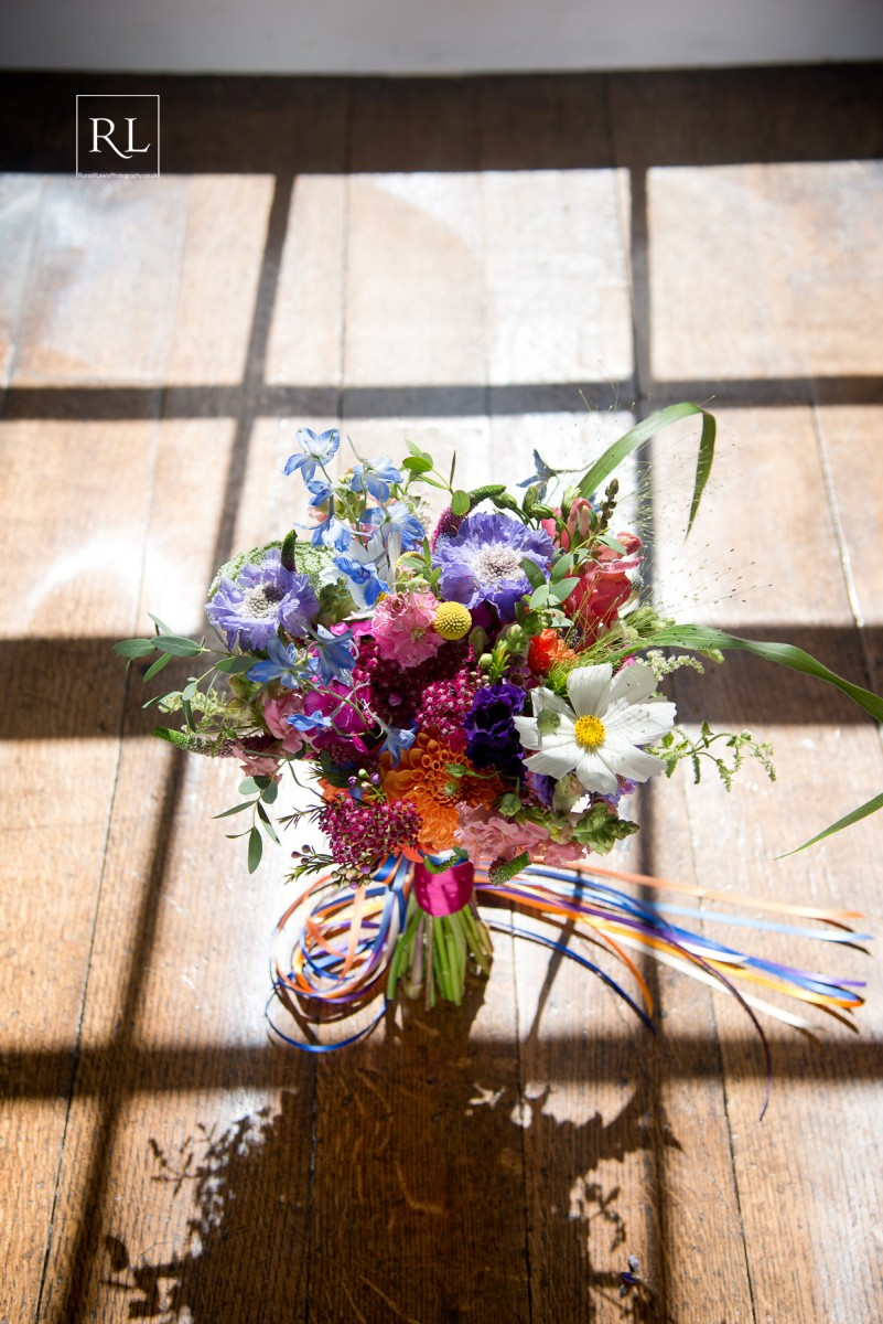 colourful brides bouquet