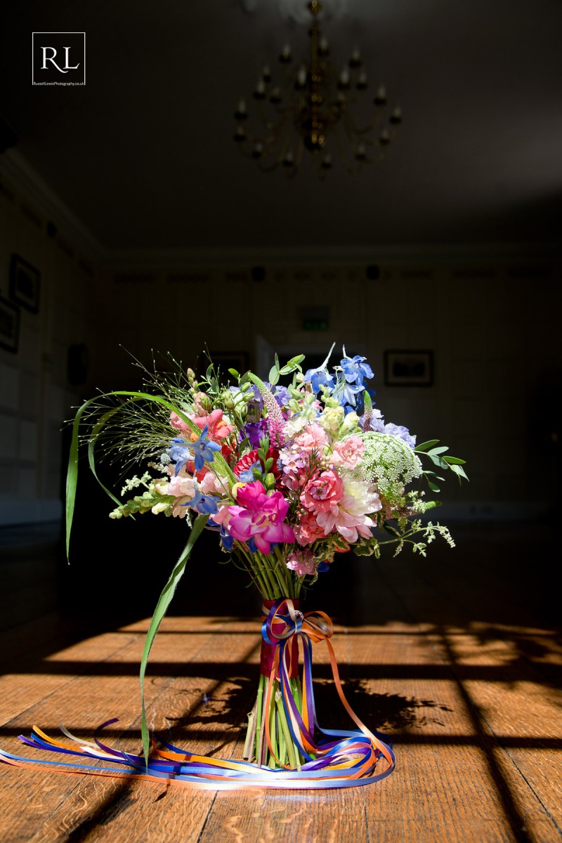 colourful brides bouquet at Homme House