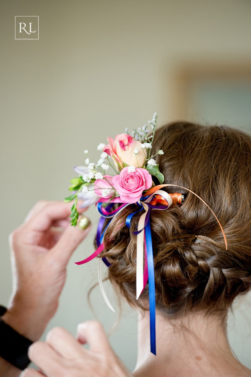 bridesmaids hair comb for a colourful wedding at Homme House