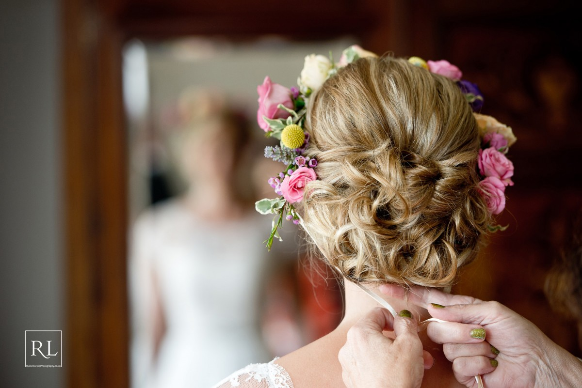 brides flower crown for a summer wedding at Homme House