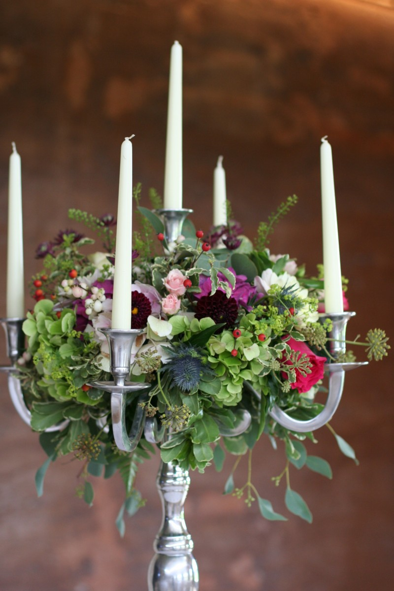 candelabra wedding flowers by JennyFleur
