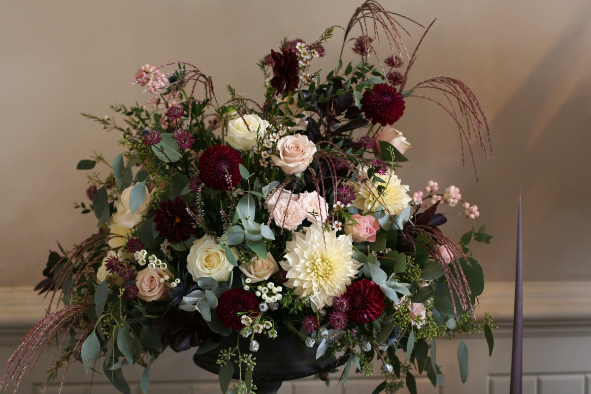 Blush pink marsala urn arrangement