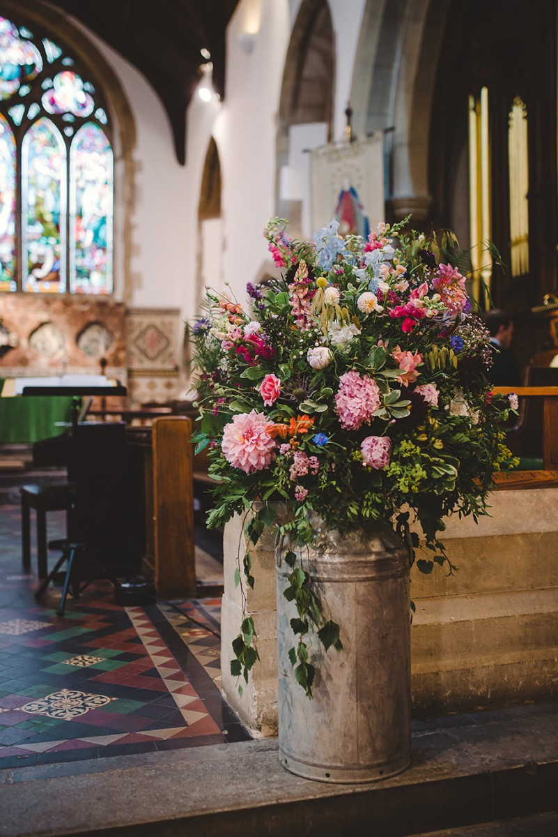 vintage churn arrangement Fladbury Church