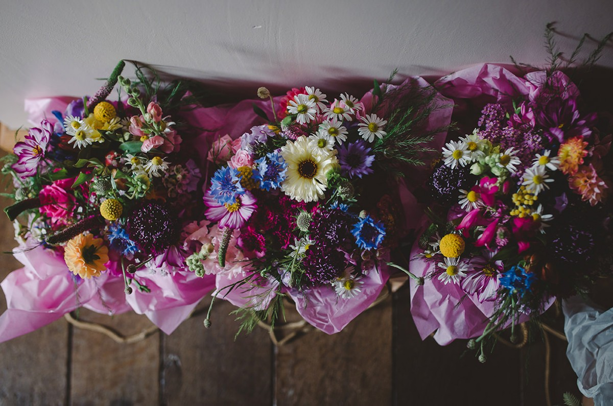 Summer wedding bridesmaids bouquets