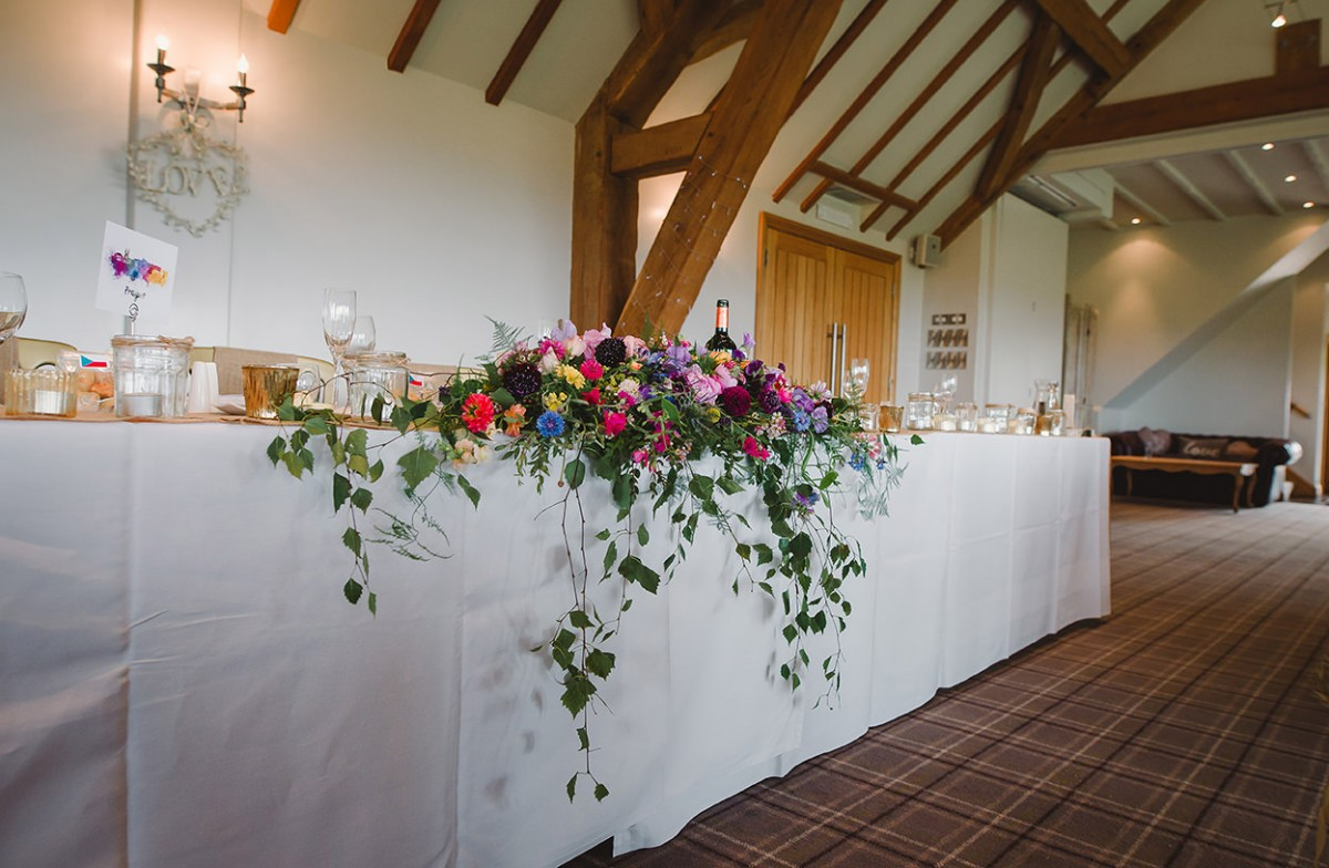 top table flowers summer wedding Deer Park Hall