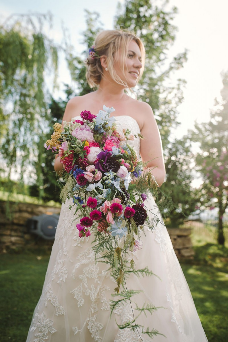 colourful trailing brides bouquet