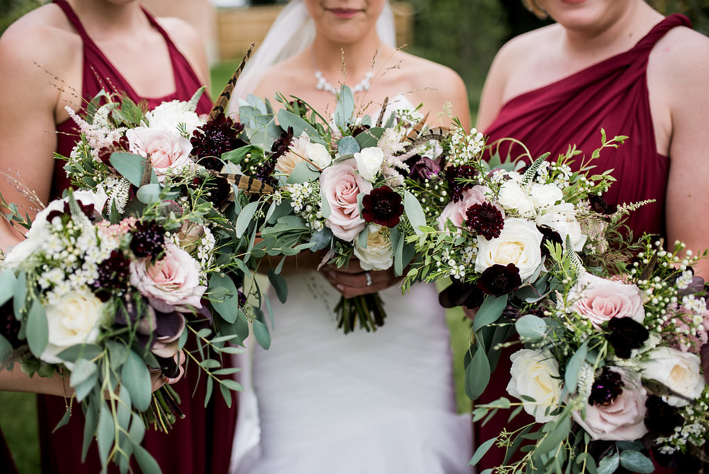 blush burgundy bride bridesmaids bouquets