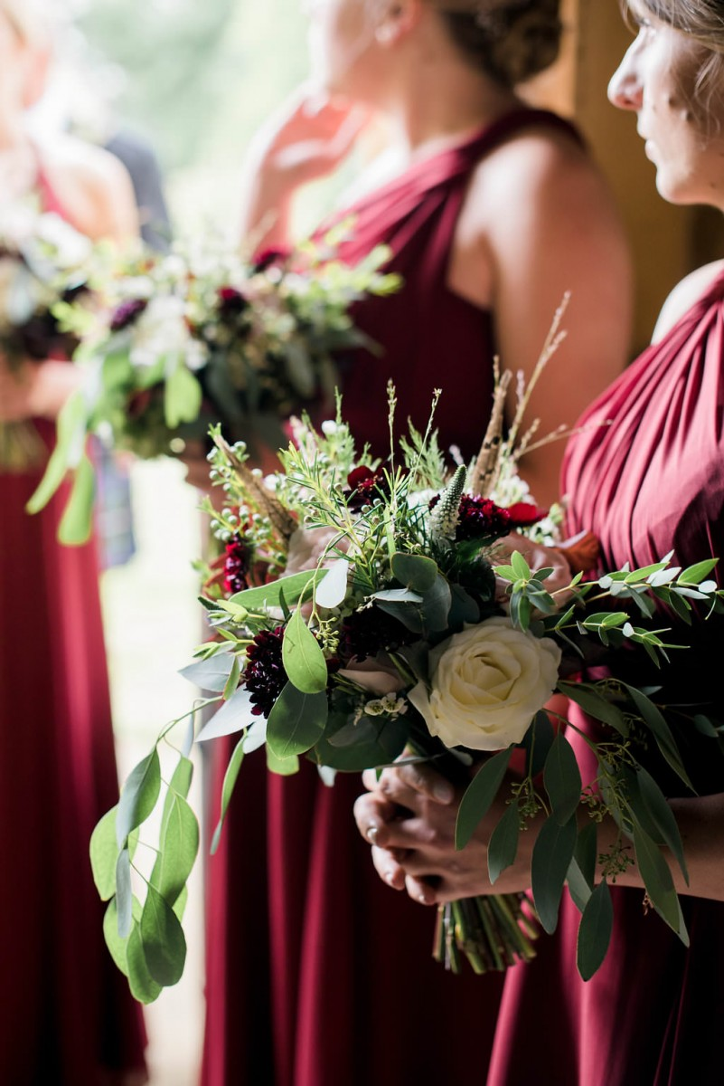 blush burgundy bridesmaids bouquets