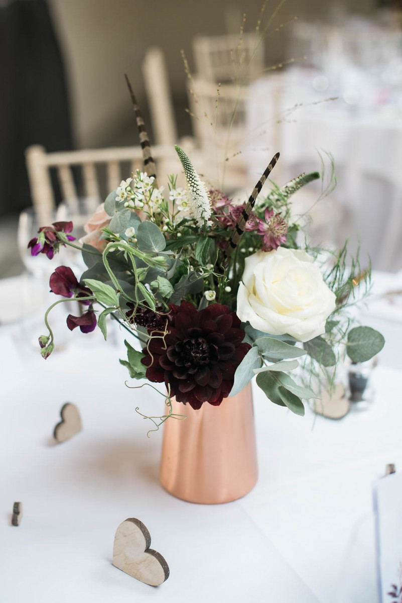 copper blush burgundy wedding flowers