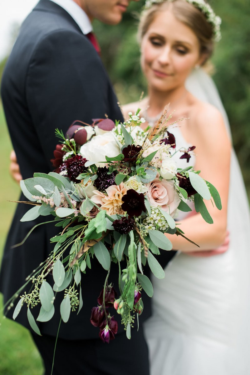free-flowing bridal bouquet blush burgundy eucalyptus