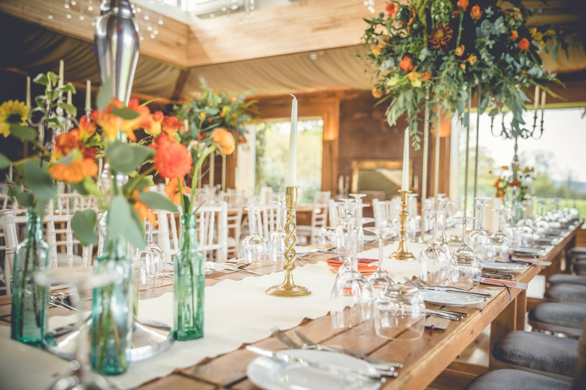 table decor Autumn wedding Elmore Court