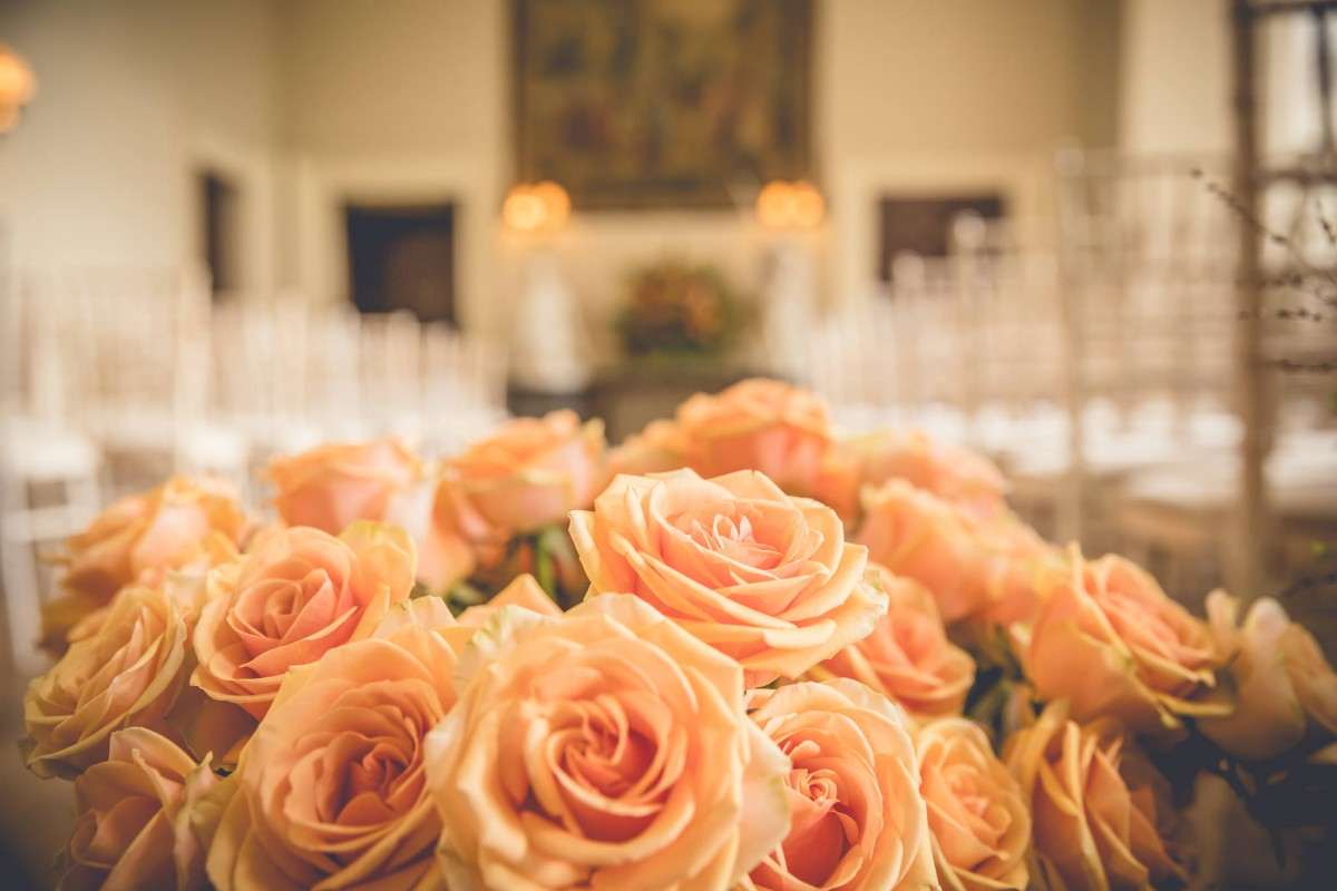 orange roses Elmore Court wedding flowers