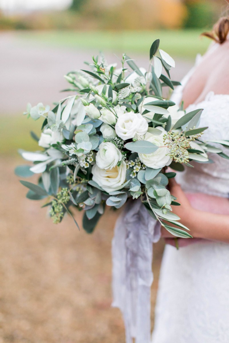 classic white and green bridal bouquet