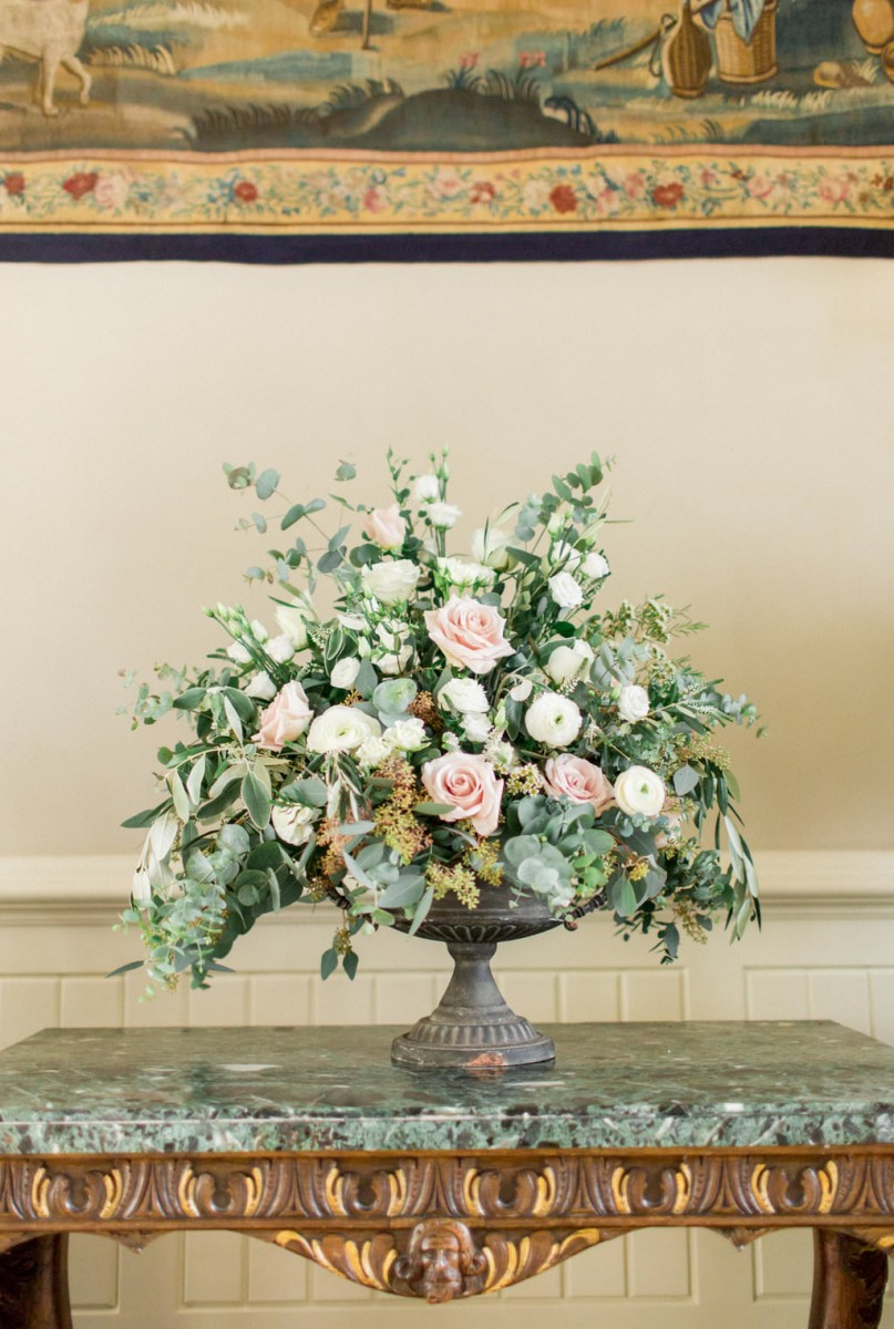 blush and white eucalyptus urn arrangement