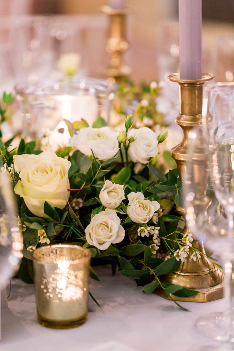 white and green table arrangement
