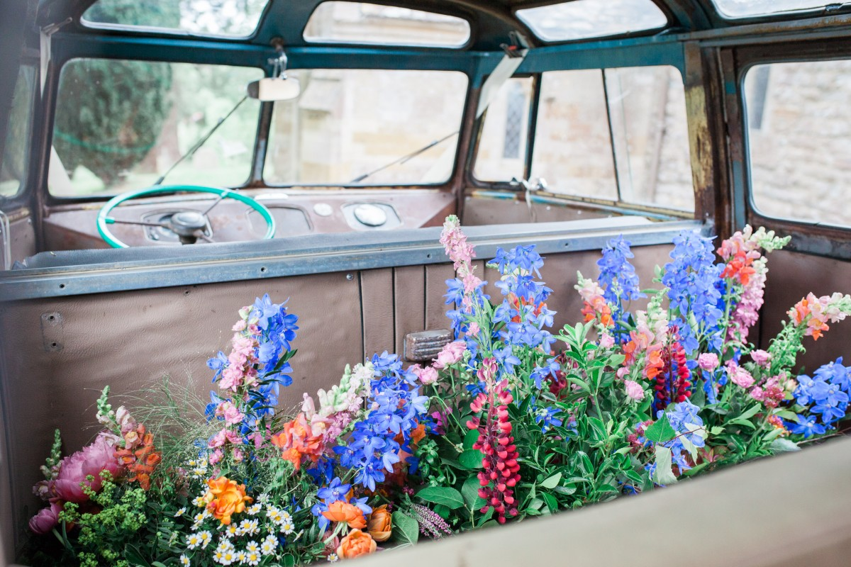 moving flowers vintage VW camper
