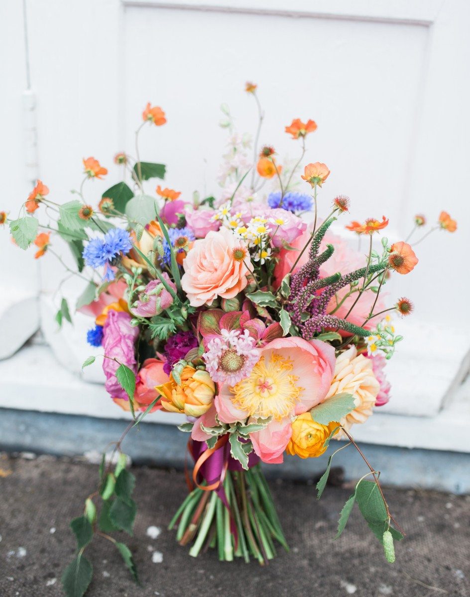 colourful wild bridal bouquet