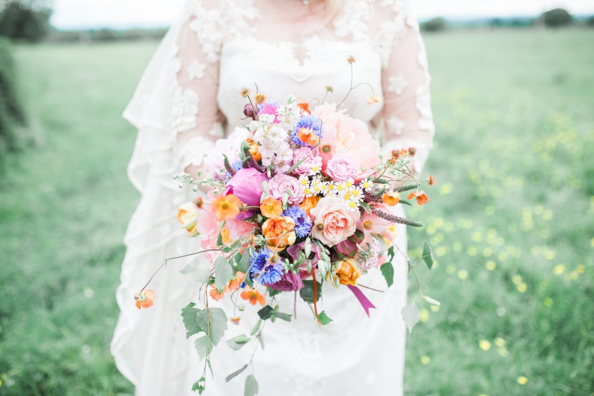 colourful wild spring summer brides bouquet