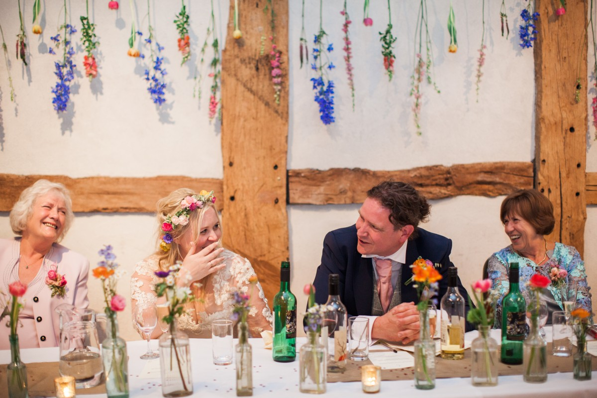 hanging flowers behind top table
