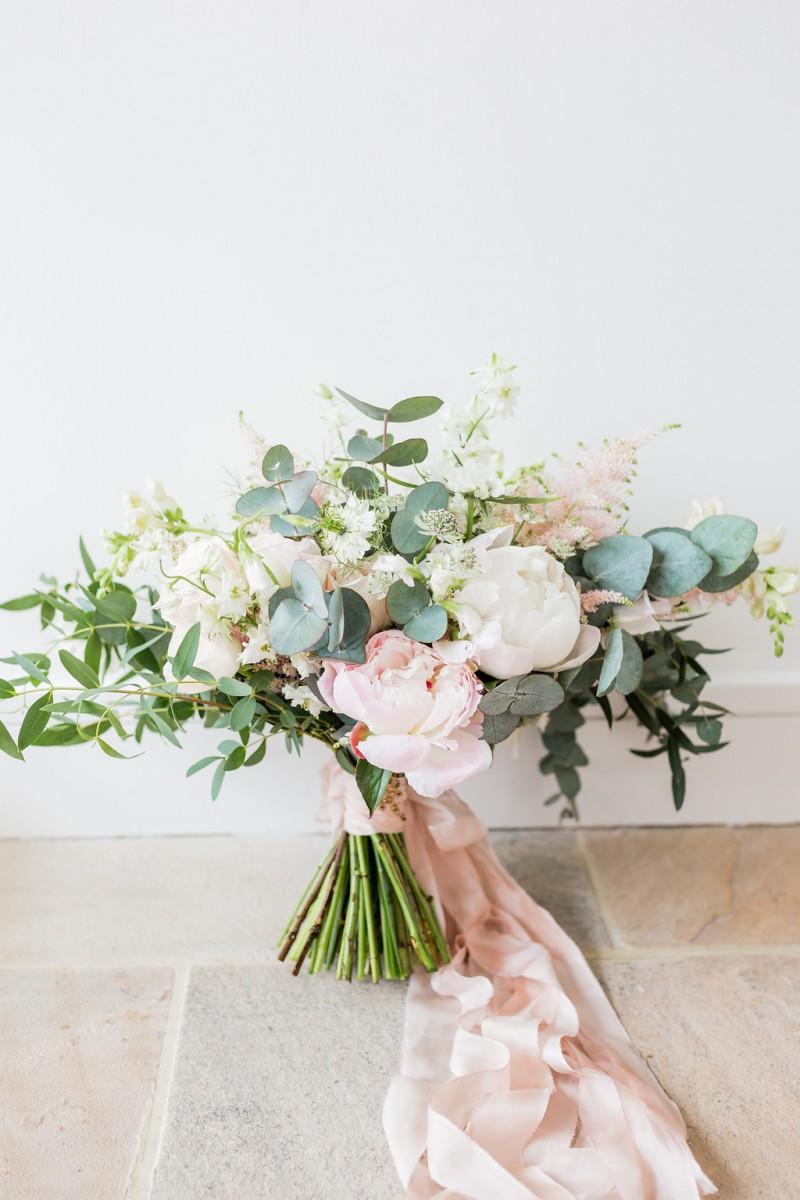 blush pink peony brides bouquet