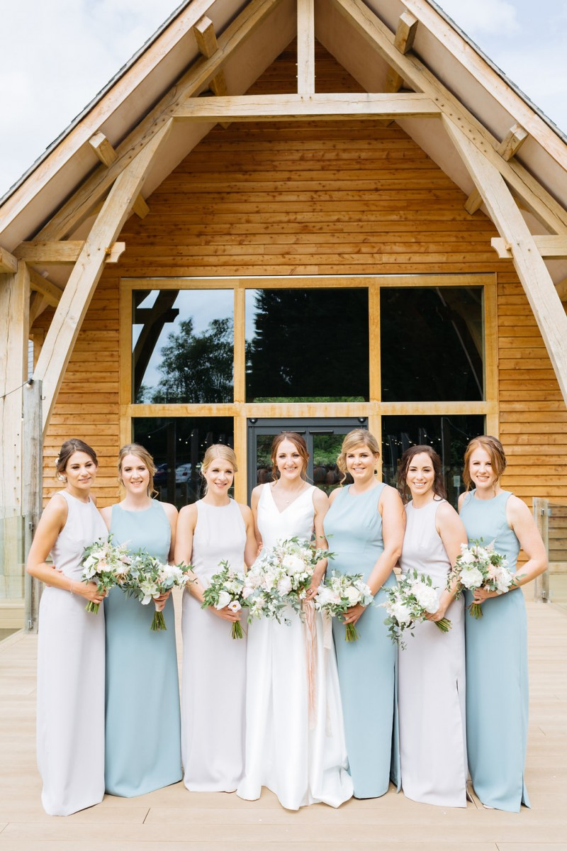 Bride and bridesmaids at Mill Barns