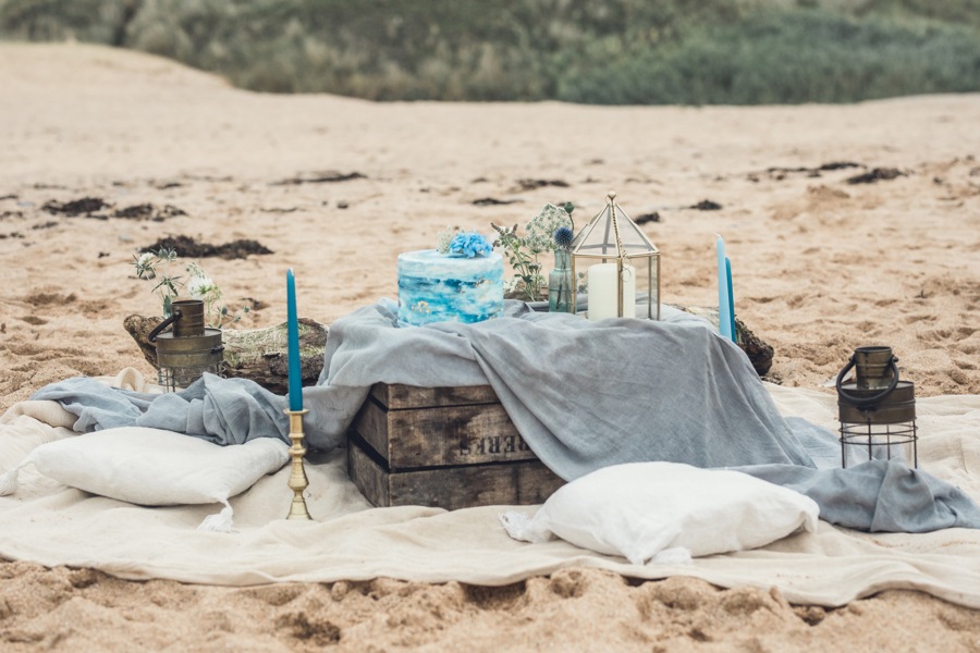 Cornish beach wedding styling by Jenny Fleur