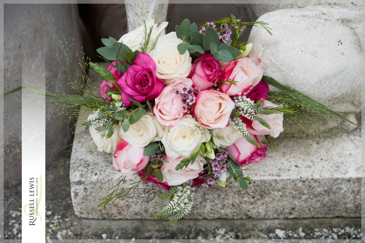 raspberry pink rose brides bouquet
