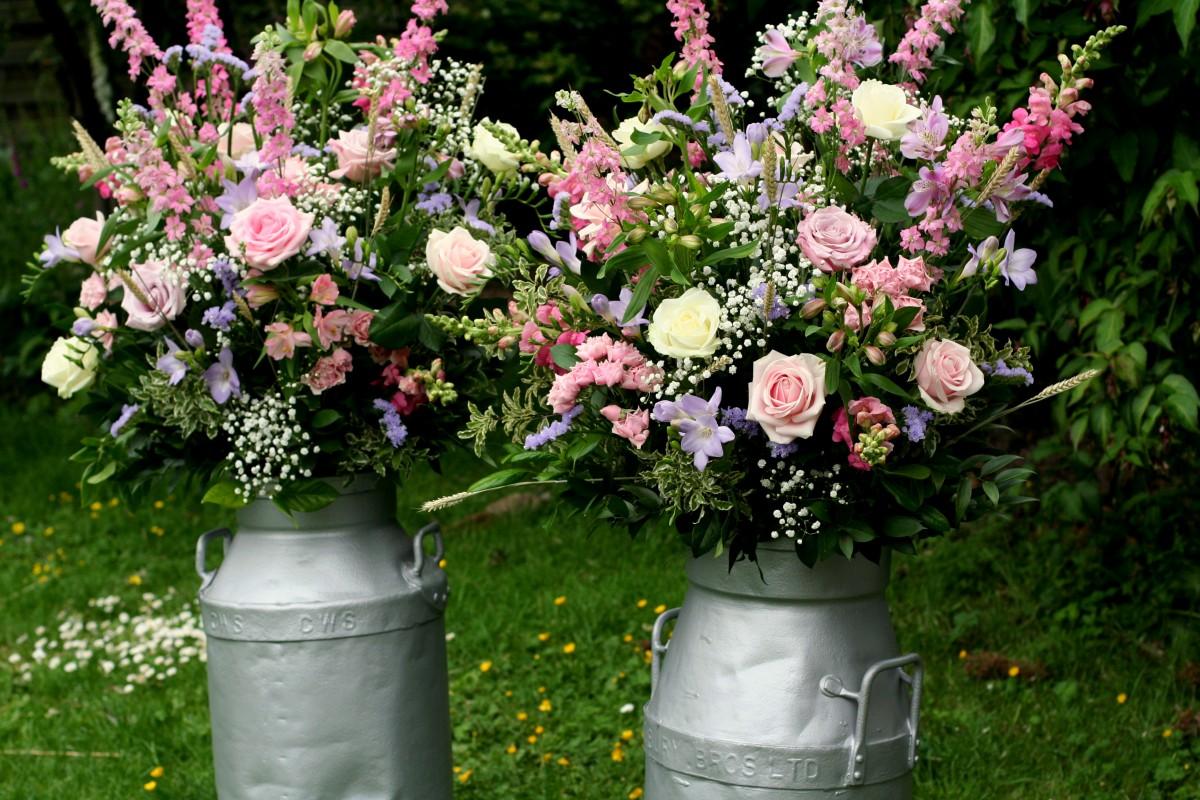 vintage milk churn flower arrangement