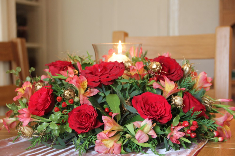 traditional Christmas table centre arrangement
