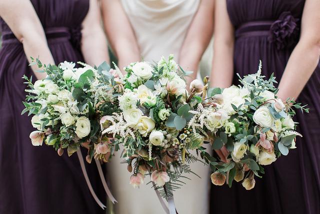 winter hellebore bride and bridesmaid bouquet