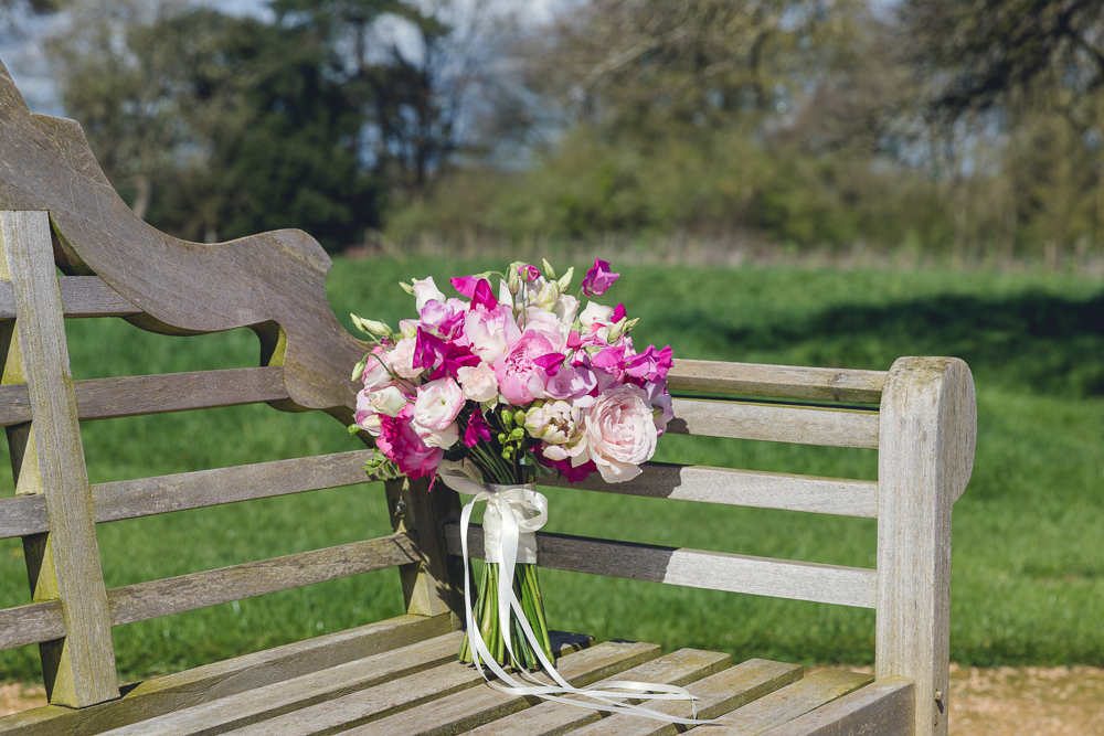 sweet pea and garden rose brides bouquet at Elmore Court
