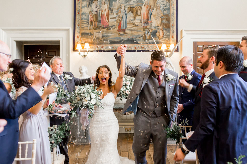 just married Elmore Court wedding flowers