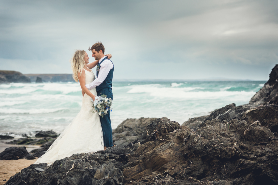 coastal wedding elopement shoot Cornwall